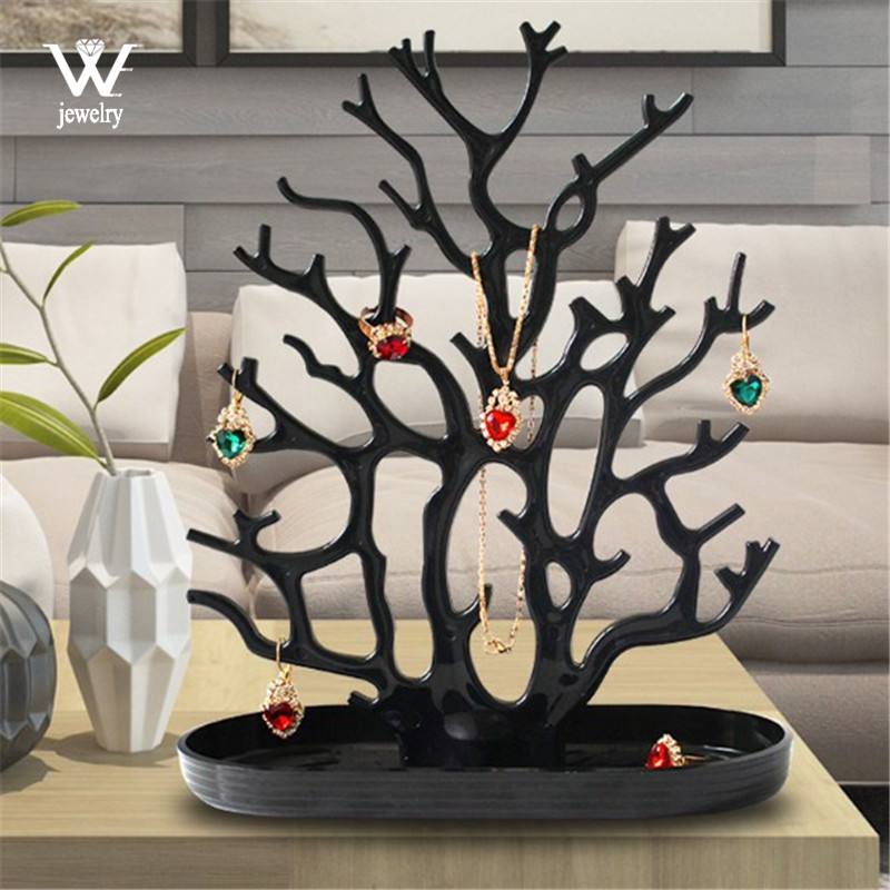 WE Black White Coral Earrings Necklace Ring Pendant Bracelet Jewelry Cases&Display Stand Tray Tree Storage jewelry Women Gifts
