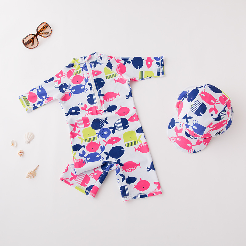 Men And Women Children One-piece Swimming Suit Underwater World With Hat-Children Hot Springs Bathing Suit