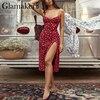 Glamaker Floral print sexy bodycon high split dress Women 2020 new sleeveless short dress Party club elegant backless vestidos 4