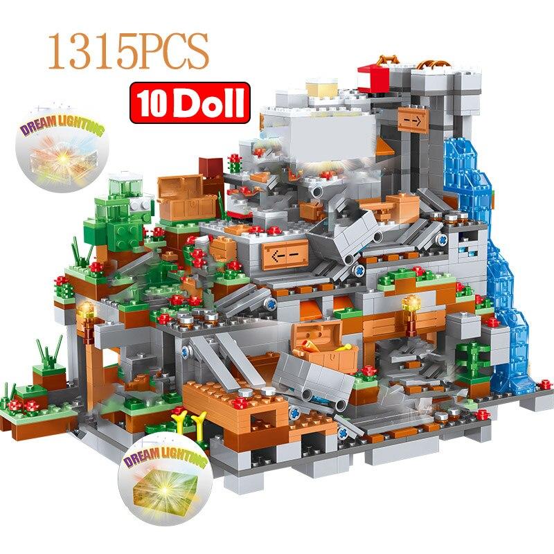 1315PCS My World Building Blocks Compatible LegoINGLY Mountain Cave  Village Figures Module Bricks Toys For Children