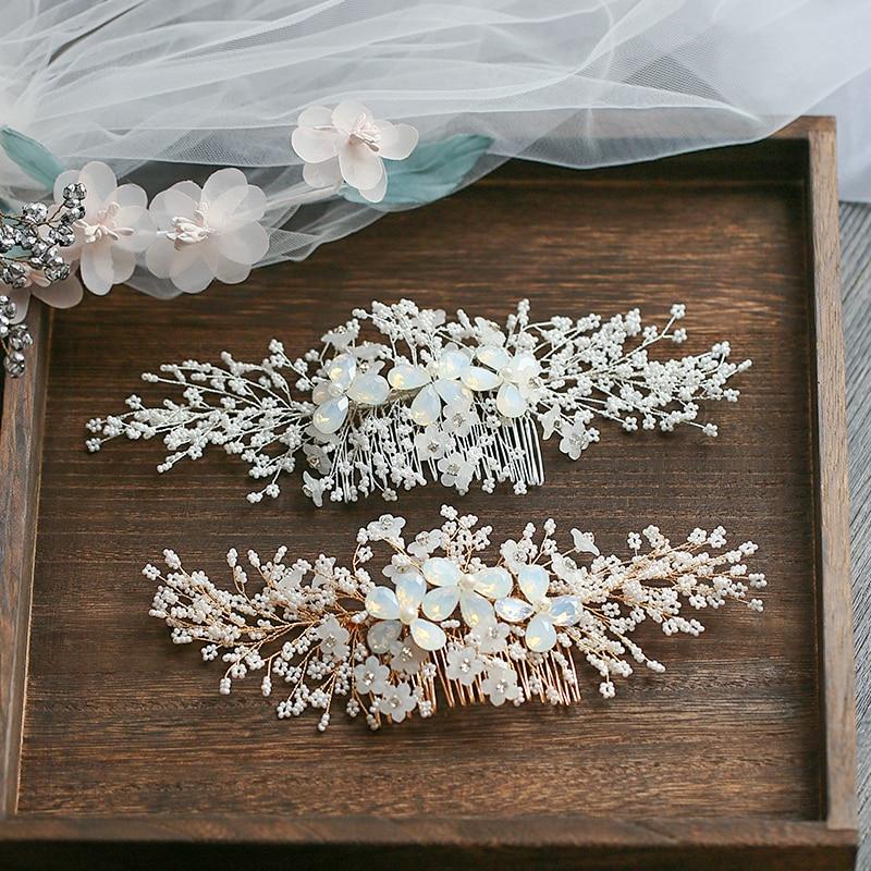 Fashion Bride Wedding Accessories 2020 Newest Flower Hair Combs Prom Bridal Wedding Headpiece Accessoire Mariage Headwear