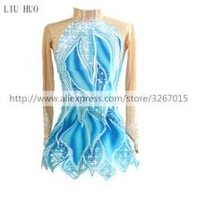 Платье для фигурного катания, женское платье для катания на коньках, синее/Белое эластичное платье для соревнований, классическая одежда для катания на коньках с длинными рукавами