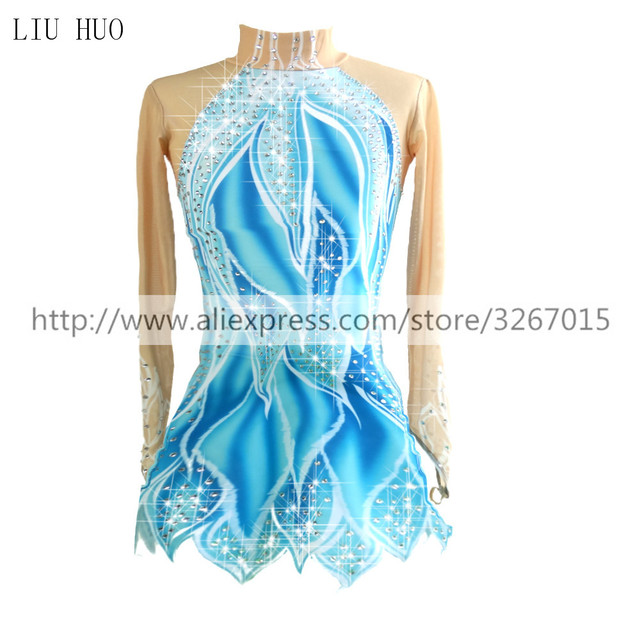 Figure Skating Dress Womens Girls Ice Skating Dress Blue / White Stretchy Competition Skating Wear Classic Long Sleeve Ice