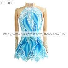 Robe de patinage artistique à manches longues pour femmes, extensible, couleur bleu/blanc, vêtements classiques de patinage sur glace