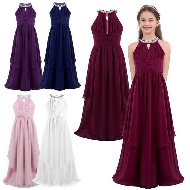 Chiffon Flower Girls Dress Floor Length Sleeveless Wedding Party Dress Sequined Halter Flower Girl Dress Princess Pageant Dress