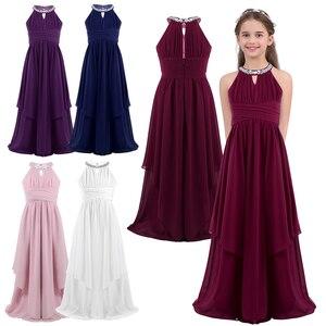 Image 2 - Genç kızlar şifon kolsuz payetli Halter çiçek kız elbise prenses Pageant düğün nedime doğum günü partisi elbisesi