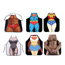 Aprons Kitchen Personalized Digital Printed Sexy Funny Apron Men Super Hero Pattern BBQ Barbecue Cooking Uniform