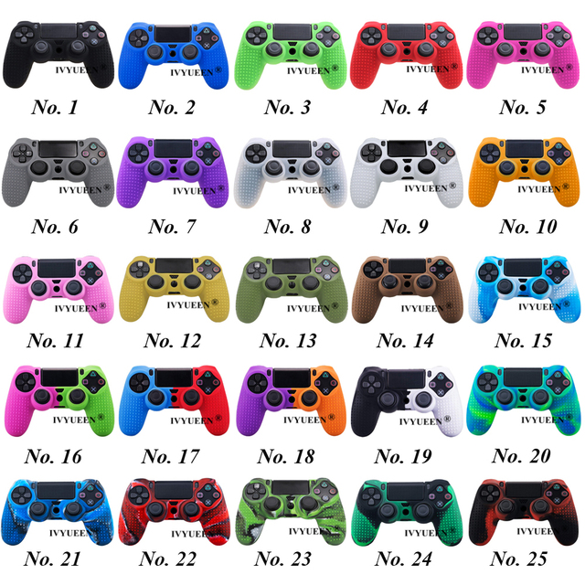 IVYUEEN 25 Colors Anti-slip Silicone Cover Skin Case for Sony PlayStation Dualshock 4 PS4 DS4 Pro Slim Controller & Stick Grip 1