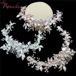 Image 3 - Peignes à cheveux longs, nouveaux accessoires de mariage en cristal, faits à la main, ornements de cheveux, Rose or, vente en gros, RE3486
