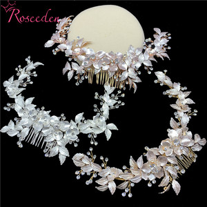 Image 3 - newly Rose Gold Wedding long Hair combs Handmade metal Flower Crystal wedding Hair Accessories Hair Ornaments Wholesale RE3486