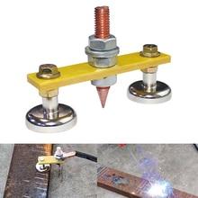 Magnetic Double Head Welding Ground Clamp Small Magnetic Welding Clamp Ground Holder Electromagnetic Welding Tools Accessories