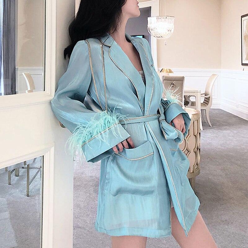 Пальто с перьями и манжетами, с длинным рукавом, платье на шнуровке, женская синяя куртка, осень 2019, модная одежда, Новая повседневная одежда D027
