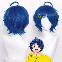 Maravilha ovo prioridade ai ohto cosplay azul escuro curto grampo de cabelo triangular resistente ao calor do cabelo sintético festa peruca sapatos meia peruca