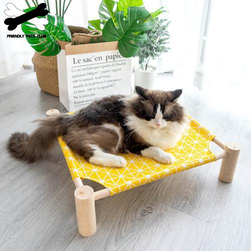 Summer Pet Bed Wooden Removable Washable Cooling Cat Bed House Portable Puppy Dog Breathable Camping Bed Cotton Hemp Hammock
