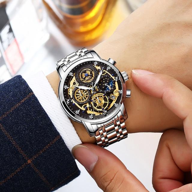 WISHDOIT 2020 New Fashion Men Watch  Calendar Stainless Steel Top Brand Luxury Sports Chronograph Quartz Watch Relogio Masculino 6