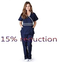 Women's Fashion Scrub Set Mock Wrap Top with Back Tie + Elastic Waistline Pants