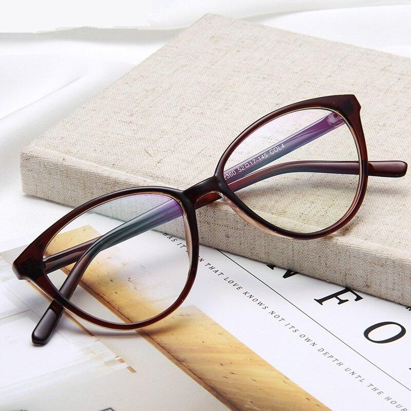 Cat Eye Glasses Frame Women Fashion Ultra Light Transparent Optical Eyeglasses Flat Clear Lens Eyewear