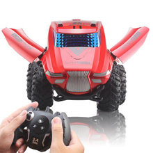 1:16 Remote Control Racing Stunt Dump Truck One Button Music Open Door Off-Road Car Model Childrens Toy Gift
