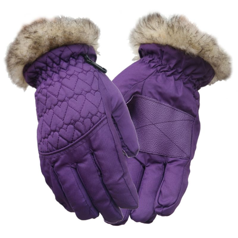 Women Kids Winter Waterproof Ski Gloves Fluffy Plush Anti-Slip Thermal Insulated Sport Cycling Snowboard Mittens Wrist Warmer