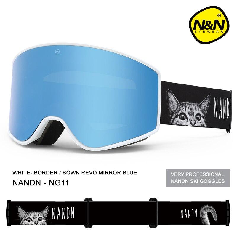 NANDN лыжные очки двухслойные UV400 Анти туман большой Лыжная маска очки Лыжный Снег Мужчины Женщины Сноуборд очки - 5