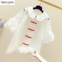 Woman New Fashion Lace Shirt White Lace Blouse Temperament Doll Collar Loose Short Sleeve Shirt Blouse Summer Autumn
