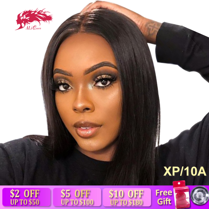 Brazilian Remy Hair Part Lace Wigs 130% Density Middle Part #1B/#613 Short Human Hair Wigs Ali Queen Hair High Ratio 8A Lace Wig