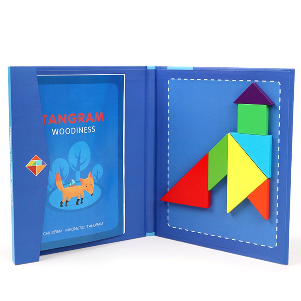 Magnetic 3D Puzzle Jigsaw Tangram Game Montessori Early Educational Toy Drawing Board Games Toy Gift For Children Brain Tease