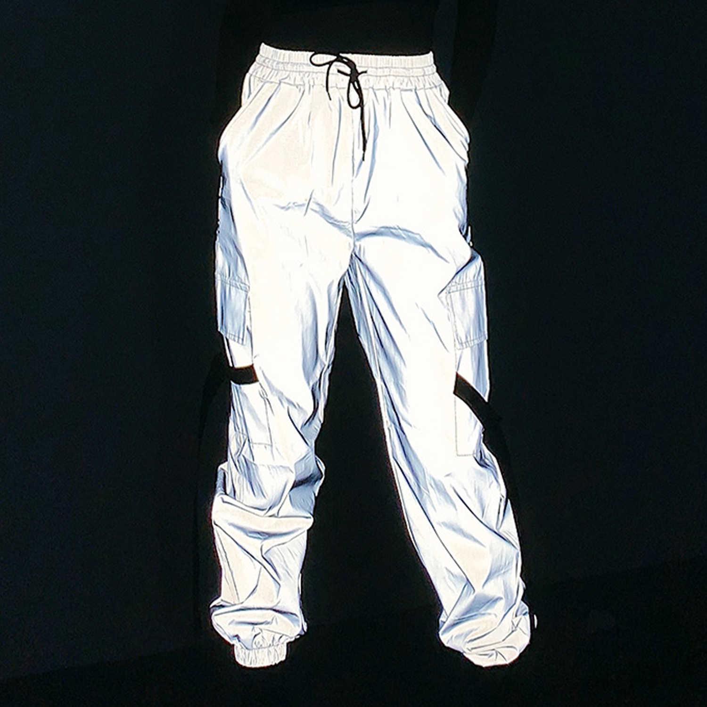 Aelfric reflectante cintas de carga Pantalones mujer Harajuku táctico Hip Hop moda Pantalones para correr informales pantalones Streetwear