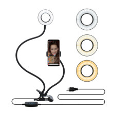 LED Lumière D'anneau De Selfie avec Bras Long Flexible Mobile Support Pour Téléphone Maquillage Attache De Bureau Usb Lampe Annulaire Pour Tiktok Youtube Vidéo En Direct(China)
