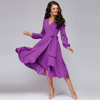 Women Vintage Sashes Bandage Office Dress Long Sleeve Sexy V neck Solid Casual A-line Party Dress 2019 Autumn New Fashion Dress 5