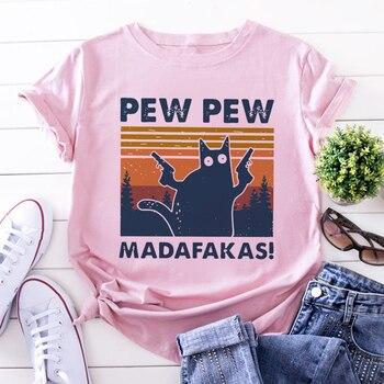 Murderous Black Cat With Gun Funny White T Shirt Pew Pew Madafakas Print T-shirt Women Short Sleeve Halloween Top Female Tshirt 1