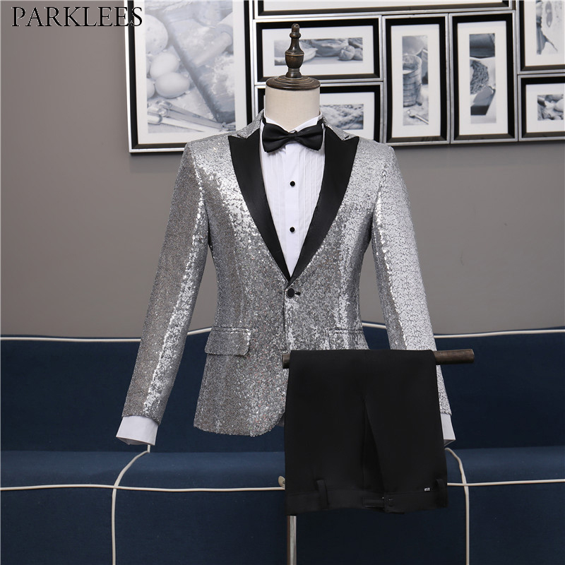 Mens Gorgeous Sliver Sequins Suits With Pants 1 Button Slim Fit Glitter 3 Pcs Tuxedo Suit Men Nightclub Stage Prom Costume Homme