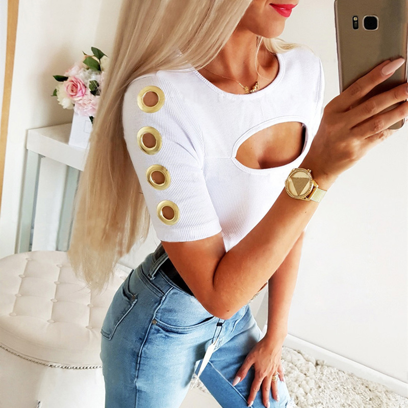 <font><b>Women</b></font> Hollow <font><b>Out</b></font> Tshirt 2020 Summer Sexy Bodycon Short Sleeve Rib Knitted Top Ladies <font><b>Cutted</b></font> O Neck Casual Solid T <font><b>Shirt</b></font> Tees image