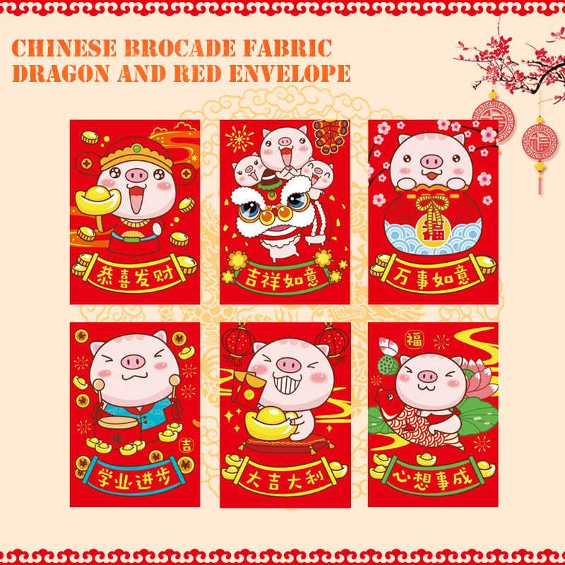 Pacotes de dinheiro Chinês Envelopes Vermelhos Home Decor Presente Do Miúdo Melhores Desejos 6pcs Pig Padrão Requintado Encantador Feliz Ano Novo 2019