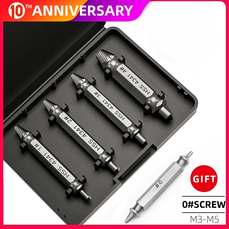 5pcs Damaged Screw Extractor Drill Bits Double Side Damage  Easy Out Stud Reverse Screw Extractor Tool Kit