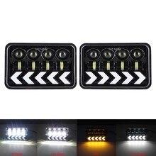 Led farol 4x6 lâmpadas quadradas com luzes de pisca drl para kenworth peterbil h4651 h4652 para chevrolet s10 1995 1996 1997