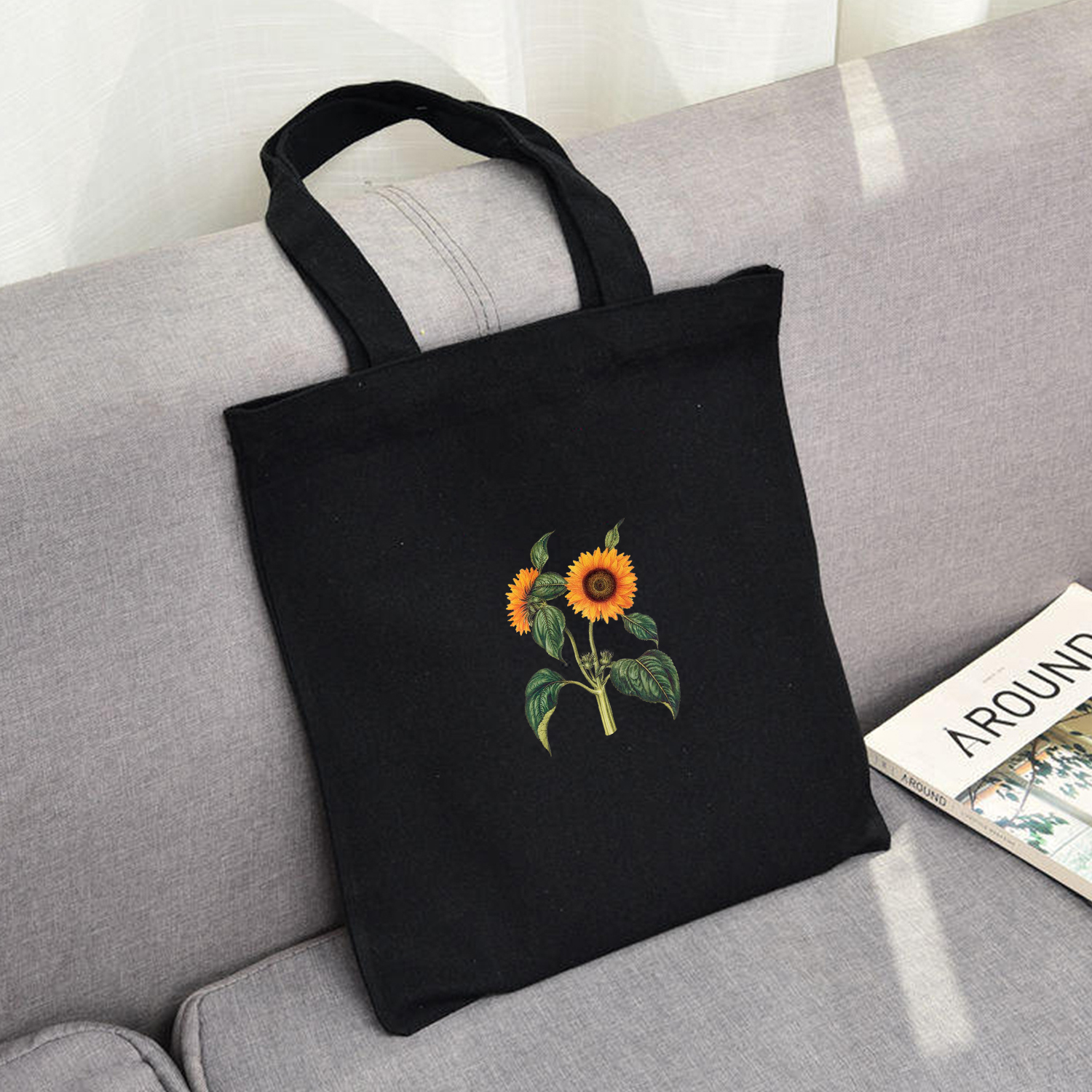 Elegant Women Canvas Shopping Bags Eco Reusable Sweet Ladies Vintage Literary Bags Women Beach Bags Sun Flower Printed Colorful