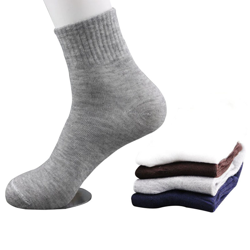3/6/10 Pairs All Seasons Men's Business Casual Cotton Socks Spring Summer Winter Solid Colors Crew Socks Male Breathable Socks