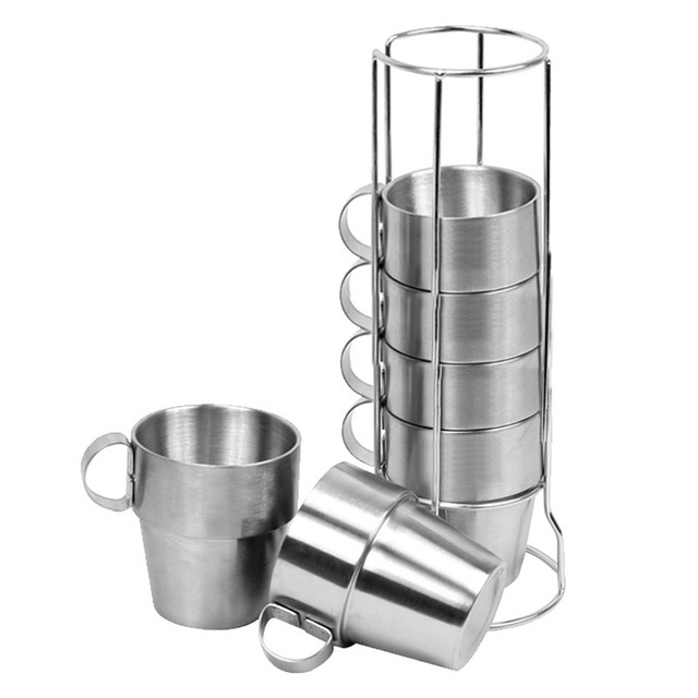 Outdoor Non magnetic 6 piece Cup Stainless Steel Double Cup Picnic Insulation Anti scald Coffee Cup Beer Mug Outdoor Camping