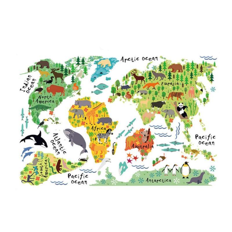 Красочные животные карта мира наклейки Дети Домашний Декор DIY стены комнаты художественный плакат