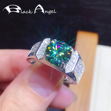 BLACK ANGEL 925 Silber Erstellt Grün Blau Moissanit Edelstein Hochzeit Einstellbare Ring Für Frauen Männer Mode Schmuck Dropshipping