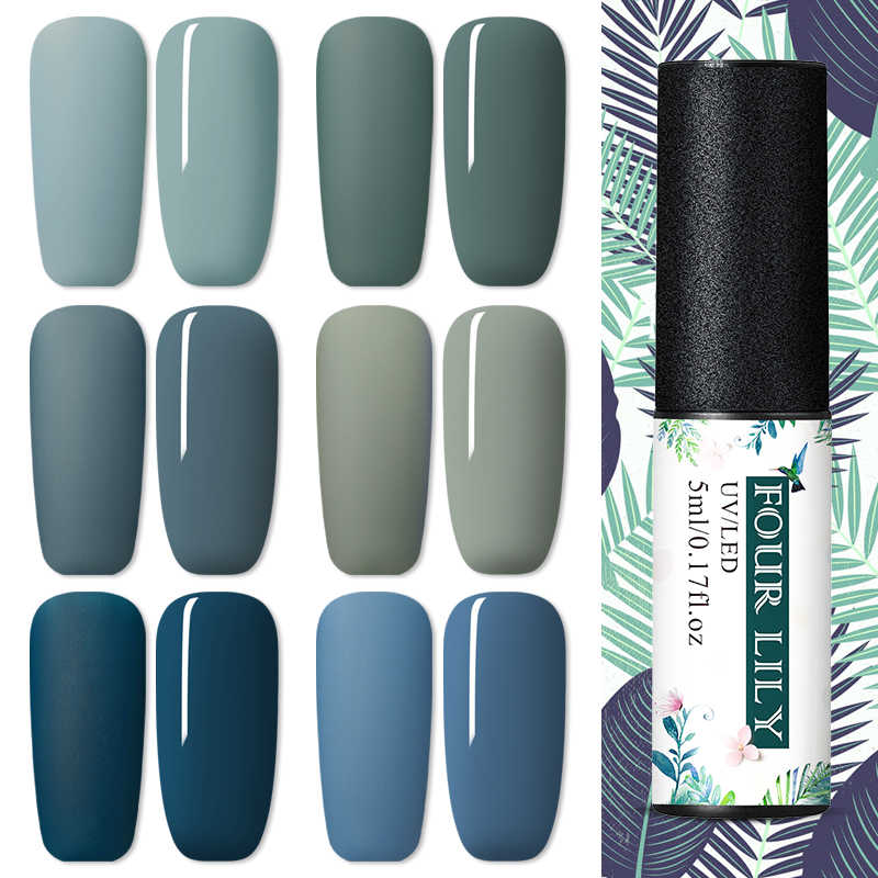 Vier Lelie 5 Ml Matte Top Coat Gel Polish Uv Led Nagellak Semi Permanente Gel Varnish Dark Blue Serie nail Art Lak Manicure