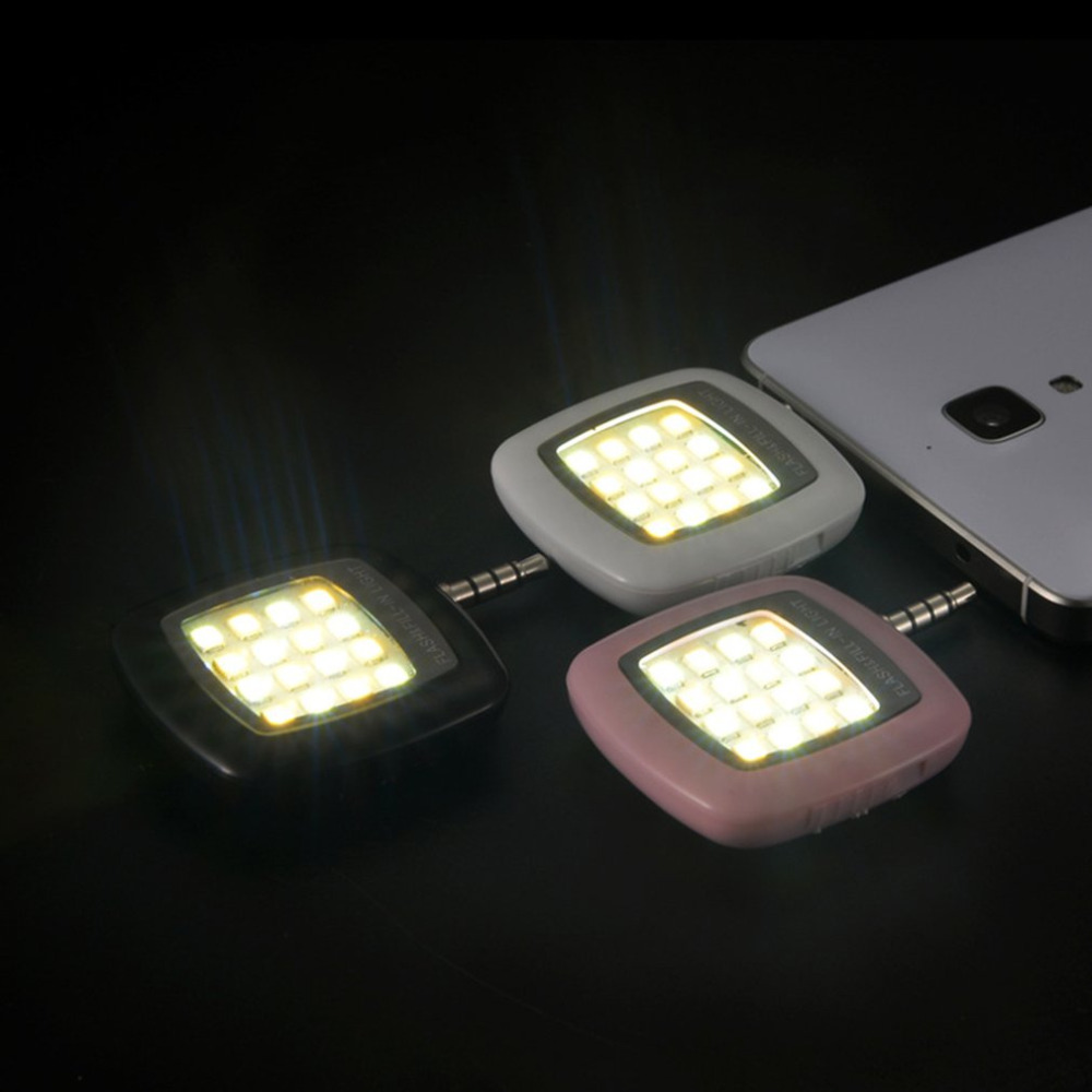 16pcs LED Mini Flash Fill Light Bright LEDS Video Light Lamp Suitable For Mobile Phone Selfie Brightness Photography Lamp 3.5mm