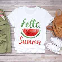 Женская футболка с принтом ананаса акварелью и фруктами женская