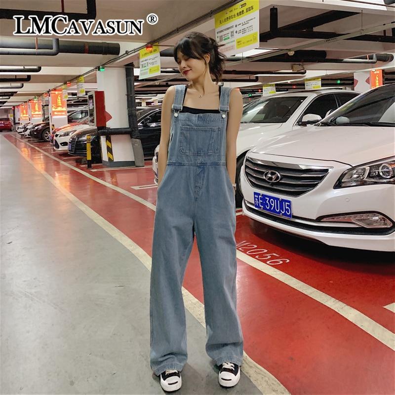 LMCAVASUN Harajuku Wide Leg Jeans Loose Jeans Women Plus Size Overalls Denim Jumpsuit Blue Fashion Female Rompers Women Jeans