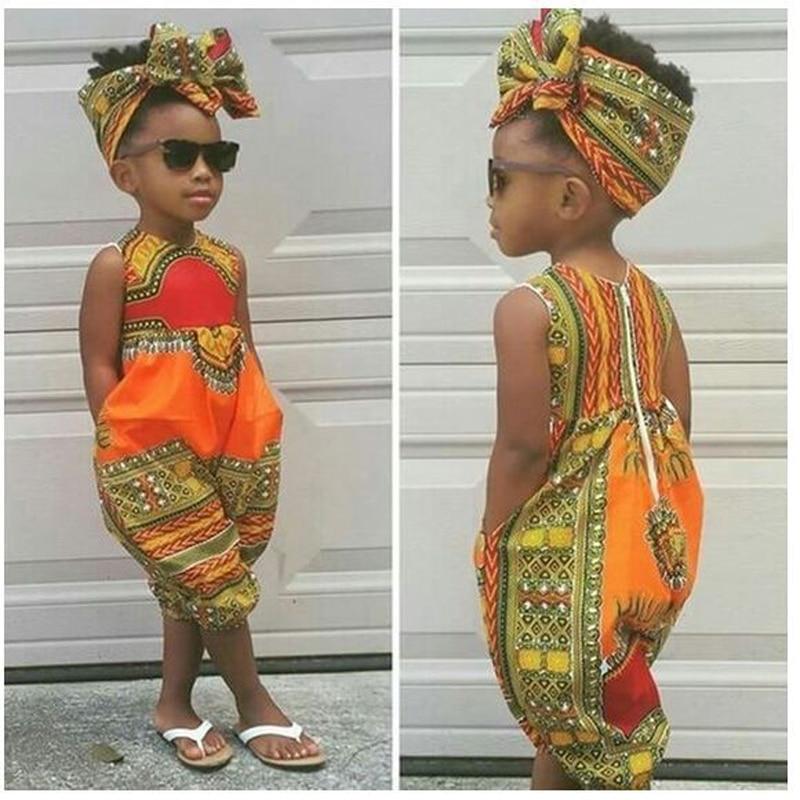 Summer African Dresses Kids Fashion Print Romper Baby Girls Dashiki Bazin Bohemian Jumpsuit Children Riche Ankara Africa Clothes