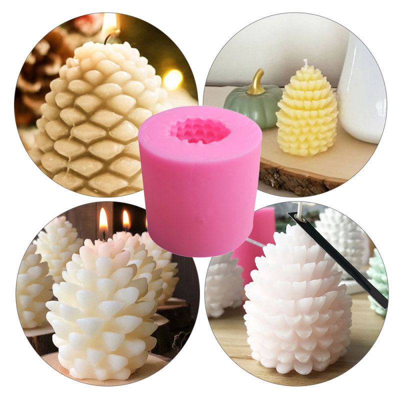 TTLIFE 3D Christmas Pine Cone Silicone Candle Mold DIY Handmade Aromatherapy Candles Beeswax Pinecone Candle Making Mould