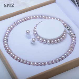 Image 3 - Perle Schmuck Sets Echte Natürliche Süßwasser Perle Set 925 Sterling Silber Perle Halskette Ohrringe Armband Für Frauen Geschenk SPEZ