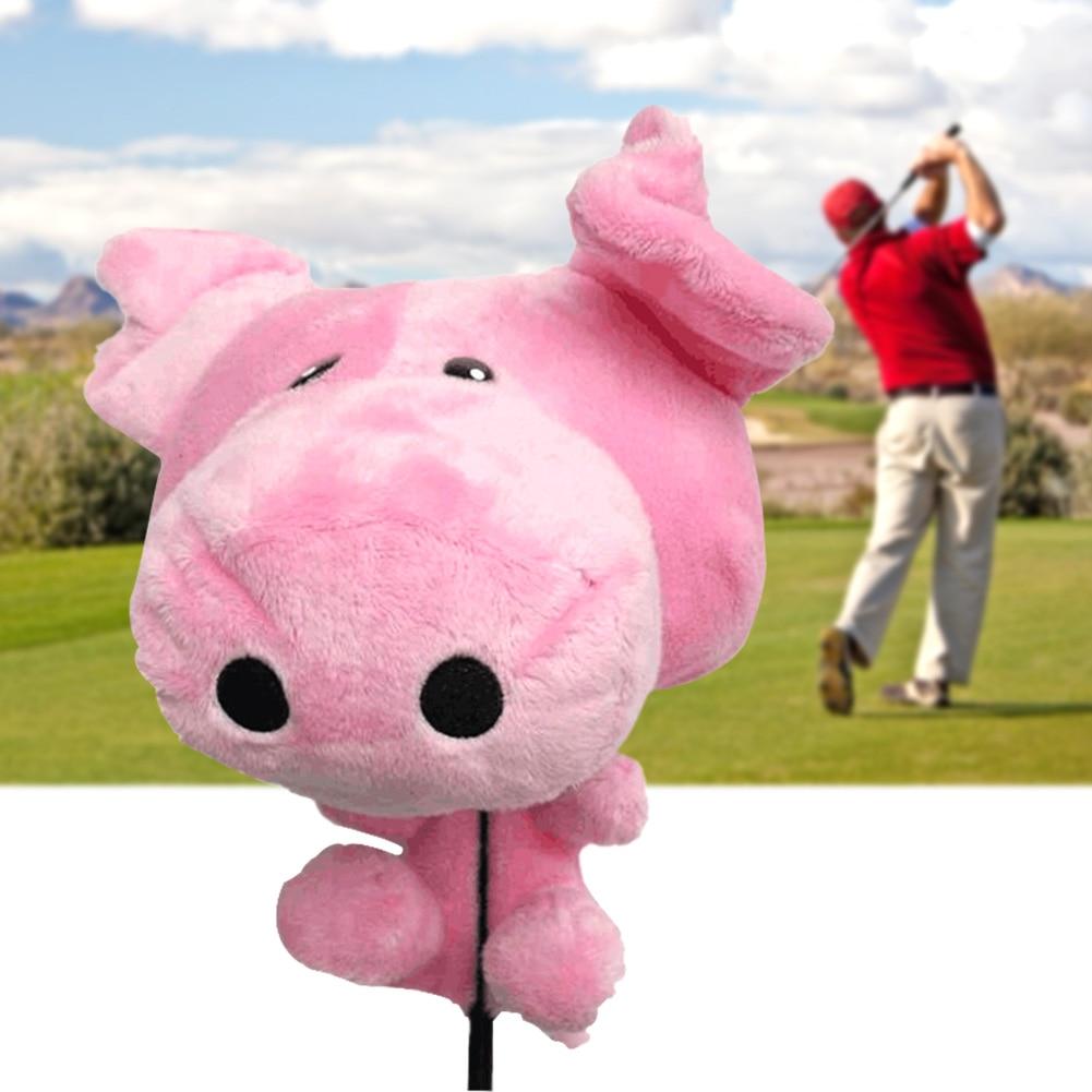 460cc Driver Animal Soft Anti Scratch Accessories Golf Sports Protective Cartoon Pig Club Head Cover Cute Fluff Cloth Ornaments