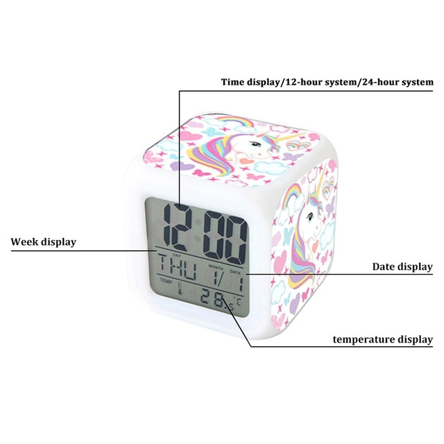 Unicorn Alarm Clock LED Digital Clock 7 Color Changing Light Night Glowing Kids Desk Clock despertador unicornio Children Gift 4